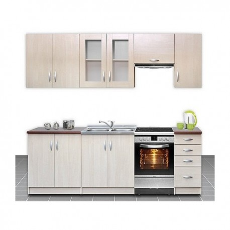 Cuisine compl te 2m60 imitation bois oc lia design moderne for Cuisine complete design
