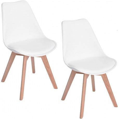 Lot de 2 chaises scandinaves blanches IJIE avec pieds en bois et assise rembourée