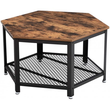 Table basse vintage industrielle avec structure en métal