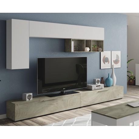 Ensemble Meuble télé LASKA 260 cm design en blanc et chêne alaska moderne