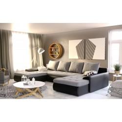 Canapé convertible panoramique JOYU double meridienne noir et blanc design