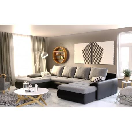 Canapé convertible panoramique JOYU double meridienne gris et noir design