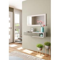 Console d'entrée NOON avec miroir blanc et bois noyer style scandinave