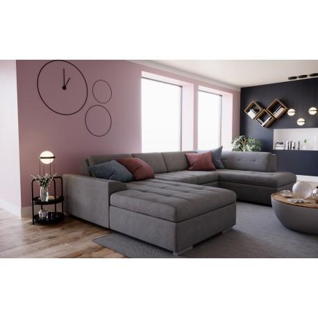 Canapé panoramique convertible RODO en tissu pour 6 à 7 personnes. Grand canapé d'angle avec lit