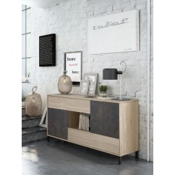 Commode Buffet 2 portes + 2 tiroirs, style industrielle