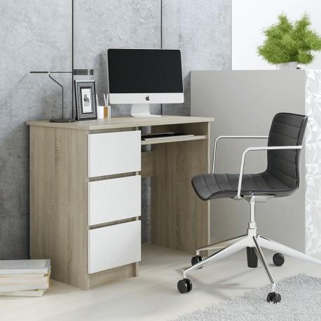 CINO - Bureau avec 3 tiroirs 90 cm bois et blanc style scandinave