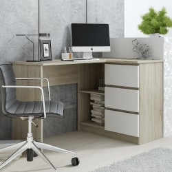 IDA - Bureau d'angle 3 tiroirs de 124 cm
