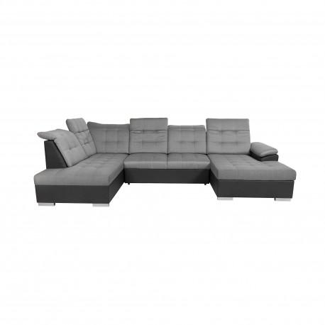 Canapé d'angle panoramique LIDO tissu gris et simili cuir noir