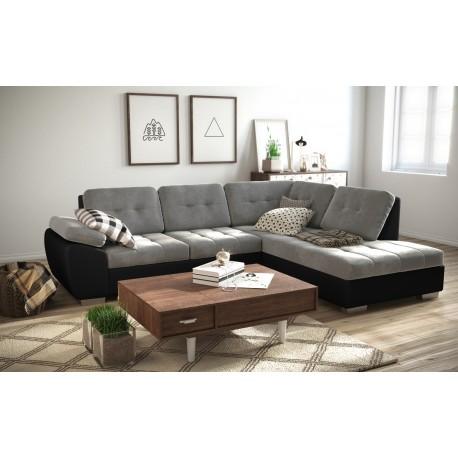 Canapé d'angle convertible GALIS avec lit et surface de couchage. gris