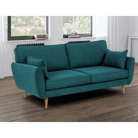 Canapé droit ZARI 3 ou 2 places bleu turquoise