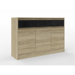 Commode 3 tiroirs 3 portes ANDA 120 cm bois et noir
