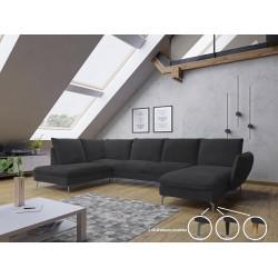 Canapé d'angle panoramique ROSIO en forme U avec pieds en métal chromé et tissu velours
