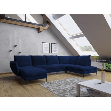 Canapé d'angle panoramique ROSALI pieds industriel noir