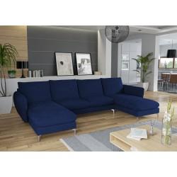 Canapé d'angle panoramique LUNI pieds chrome