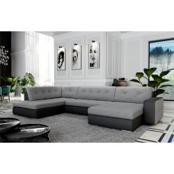 Canapé d'angle panoramique en U ATIA. 6 à 7 personnes en tissu et simili cuir.