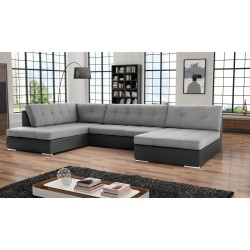 Canapé d'angleen U PAOLA en tissu et simili cuir design