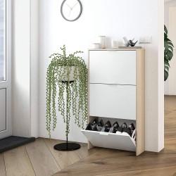 Meubles à chaussures NIRO style scandinave bois et blanc à petit prix