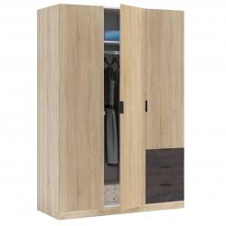 INDIO - Armoire Industrielle 3 Portes Bois + 3 tiroirs
