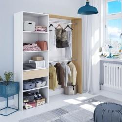 DRESIO - Armoire dressing avec étagère de 60cm de rangement, 2 penderies et 1 tiroir. Style scandinave bois et blanc