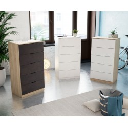 Alaya - Commode 5 tiroirs, style scandinave couleur chêne Canadien et Blanc ou industriel