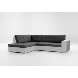 Canapé d'angle convertible ATIA gris et noir en tissu et simili cuir moderne et tendance