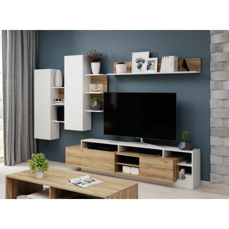 Ensemble TV ILDA bois et blanc moderne et design