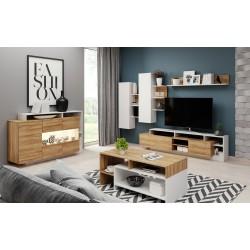 Salon complet ILDA bois et blanc moderne et design