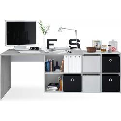 Bureau réversible modèle Adapta XL Gris Ciment et Blanc 74 x 136 x 139 cm habitdesign