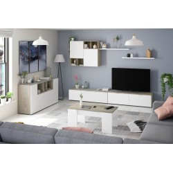 Ensemble meuble tv design EVOS chêne Alaska et blanc