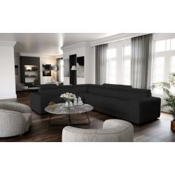 Canapé d'angle IZMIR en gris ou beige avec têtières réglables grand confort