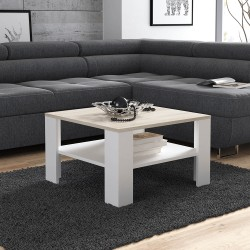 Table basse carrée LANA de 68 cm couleur bois et blanc style scandinave