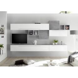 ensemble Meuble TV infinity laqué design blanc
