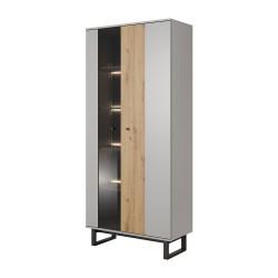 Vitrine Haute industrielle AVIRO gris bois et pieds en métal noir effet loft