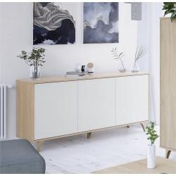 ZAIKA - Buffet - Commode scandinave 3 Portes L154 cm - Blanc/chêne avec Pieds