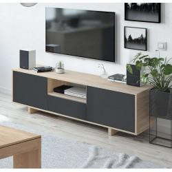 ANIO - Meuble TV 3 portes gris et chêne style industriel