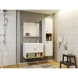 Meubles de salle de bain Oler I style nordique nature avec meuble sous vasque colonne et miroir