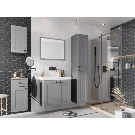 Meubles de salle de bain SENIA gris ou blanc moderne et design avec lavabo