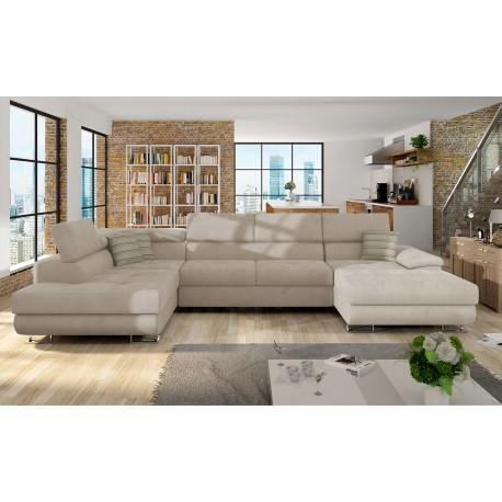 Canapé d'angle convertible COTORE avec têtières réglables. Mousse haute densité 30kg grand confort