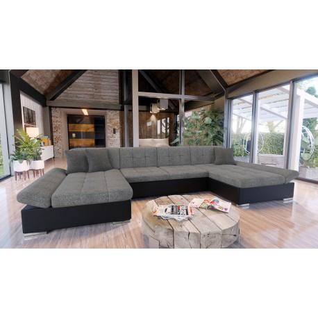 Canapé d'angle convertible ALON en U avec lit et coffre de rangement