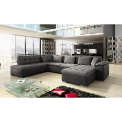 Canapé panoramique convertible en U ALIA gris et noir avec lit et coffre
